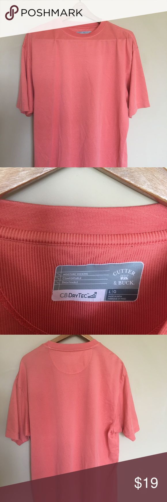 🔥Cutter&Buck moisture wicking T-shirt🔥 🔥This is a salmon colored, sleek and stylish T great for literally any occasion. Moisture wicking, breathable, and comfortable were the focus for this top and I think they came through, definitely one of my favorites and I think if you spend a little time in it you will agree 😄🔥🔥 Cutter & Buck Shirts Tees - Short Sleeve