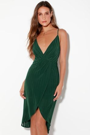 61d6038163cd Lulus | Wrapped Up In Love Dark Green Satin Wrap Midi Dress | Size X ...