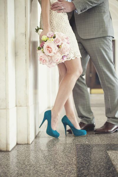 Real Wedding: Jennifer and Andrew's Courthouse Elopement....love the 'something blue' shoes