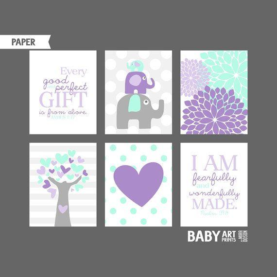 Lilac Purple Mint Grey Girl Nursery art prints by babyartprints