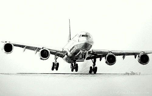 Pencil drawing Airbus A340