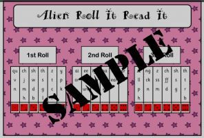 Alien Roll It Read It (Phases 2 / 3 / 5)  There is board for Phase 2, 3 and 5 and recording sheet.  check out how to play...