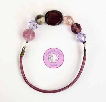 #pulsera #cuero #piedras #cristal #handmade #complementos