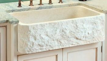 White Single Bowl Chiseled Apron Front Marble Kitchen Sink