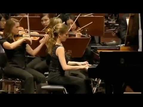 Pianist: Julia Fische  The  Piano Concerto in A minor, op. 16  Allegro moderato molto e marcato - Quasi presto - Andante maestoso (A minor F major → minor → A → A major) ,By Edvard Grieg Junge Deutsche Philharmonie Conductor: Matthias Pintscher From Frankfurt, Germany     (1843–1907) in 1868, was the only concerto Grieg completed. It is one of his most popular works[ ] and among the most popular of all piano concerti.