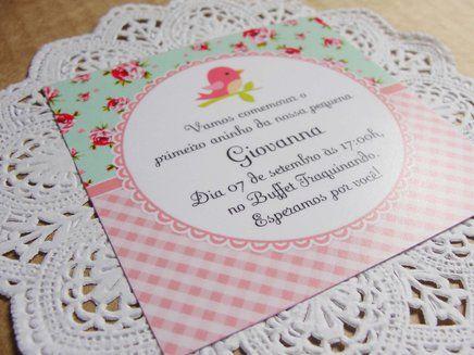 Convite Passarinho Floral Verde Água e Rosa