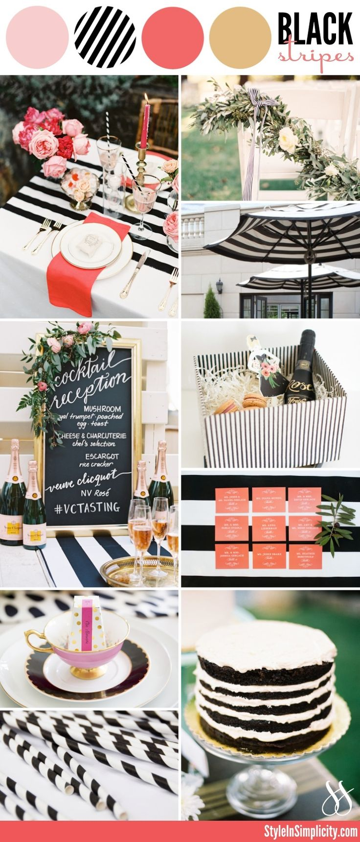 Modern Black &White Stripes - Wedding Color Palette Inspiration via StyleInSimplicity.com