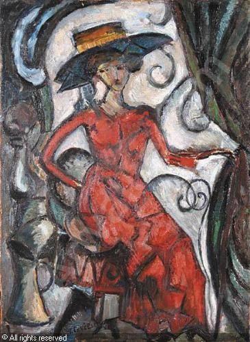 CZYZEWSKI Tytus - Dama w czerwonej sukni - portret Aleksandry Jordaens