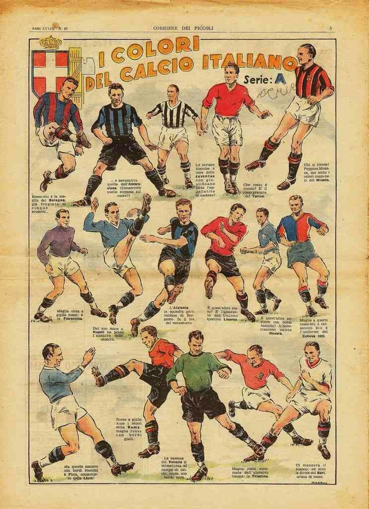 Italian clubs kit poster in 1941.