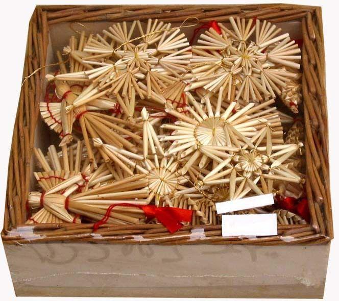 Scandinavian Swedish Norwegian Straw Christmas Ornaments 55 pc basket #104