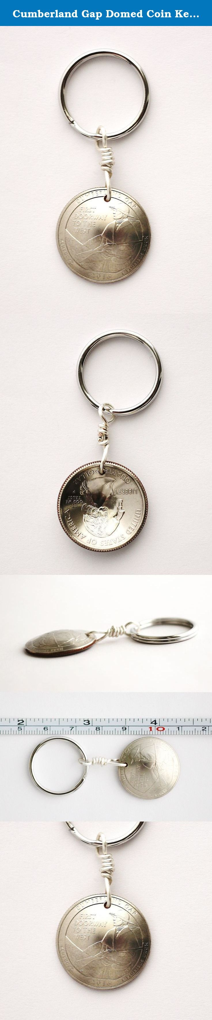 Cumberland Gap Domed Coin Keychain, U.S. Quarter Kentucky Key Ring, 2016. This quarter coin keychain was made from an authentic U.S State quarter dollar coin and is part of the America the Beautiful series. This U.S. quarter coin depicts The Cumberland Gap National Historical Park, Kentucky, and is dated 2016. The quarter has a detailed image of a frontiersman gazing through the Gap to the west. FIRST DOORWAY TO THE WEST is printed on the quarter coin. After I drilled the coin, I cleaned…