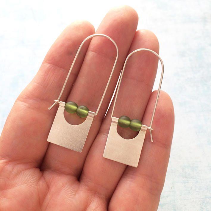 Sterling silver hook earrings - tribal earrings - geometric earrings - dangle and drop square earrings