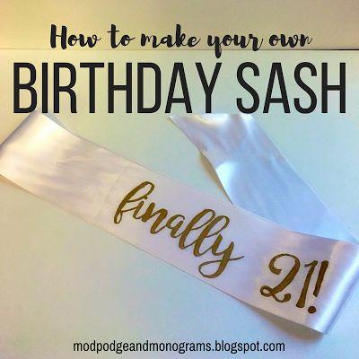Mod Podge and Monograms: How to make a sash, perfect for birthdays!