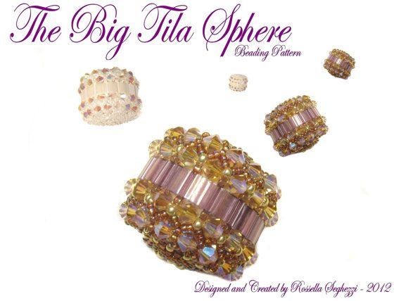 Beaded Bead Pattern The Big Tila Sphere  Pdf file by RossellaS, €8.00