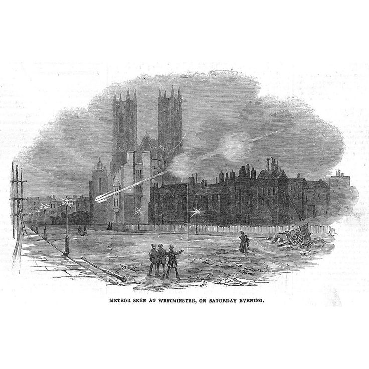 LONDON The Meteor seen at Westminster - Antique Print 1854
