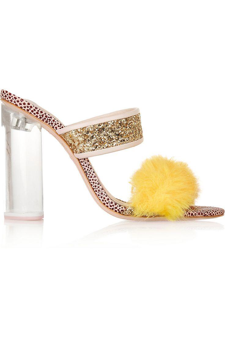Sophia Webster + Shrimps Skye faux fur-trimmed stingray-effect leather  sandals