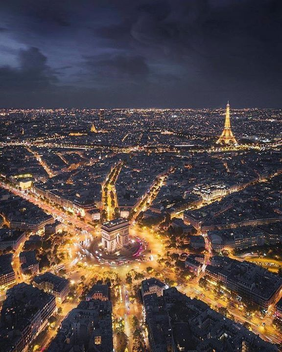 paris at night - travel | la vie parisienne - city lights - wanderlust - drone - france - french - europe - eurotrip - trip - beautiful - bucket list - adventure - explore - inspiration - travel photography - picture