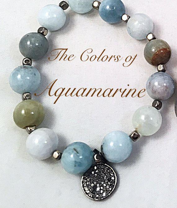 Diamond Tag Aquamarine Bracelet March Birthstone by ShalomJewelry