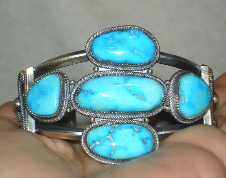 Vintage Harry Morgan Navajo Bracelet Sterling and Kingman Turquoise