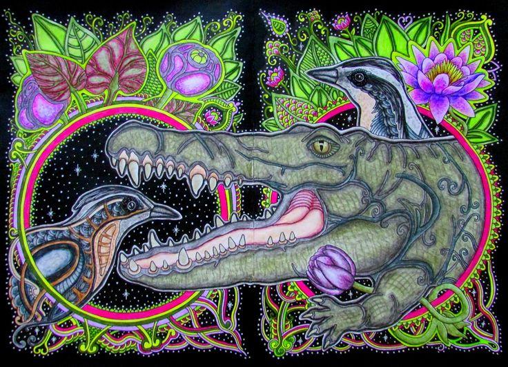 #раскраскаантистресс #яраскрашиваю #раскраскидлявзрослых #ольгаголовешкина #ветеруноситцветы #крокодил