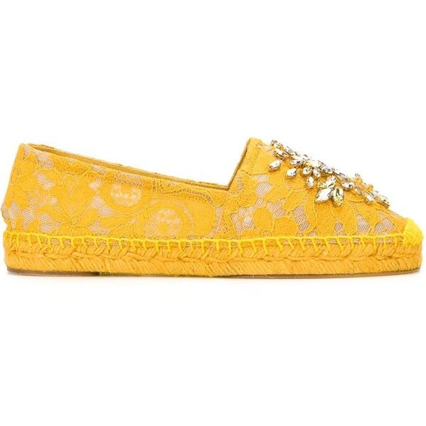 Dolce & Gabbana embellished lace espadrilles (£680) ❤ liked on Polyvore featuring shoes, sandals, yellow, dolce gabbana shoes, espadrille sandals, embellished shoes, round cap and yellow espadrilles