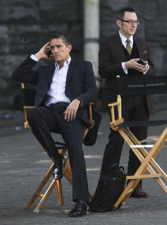 Jim Caviezel and Michael Emerson on the set of Person of Interest