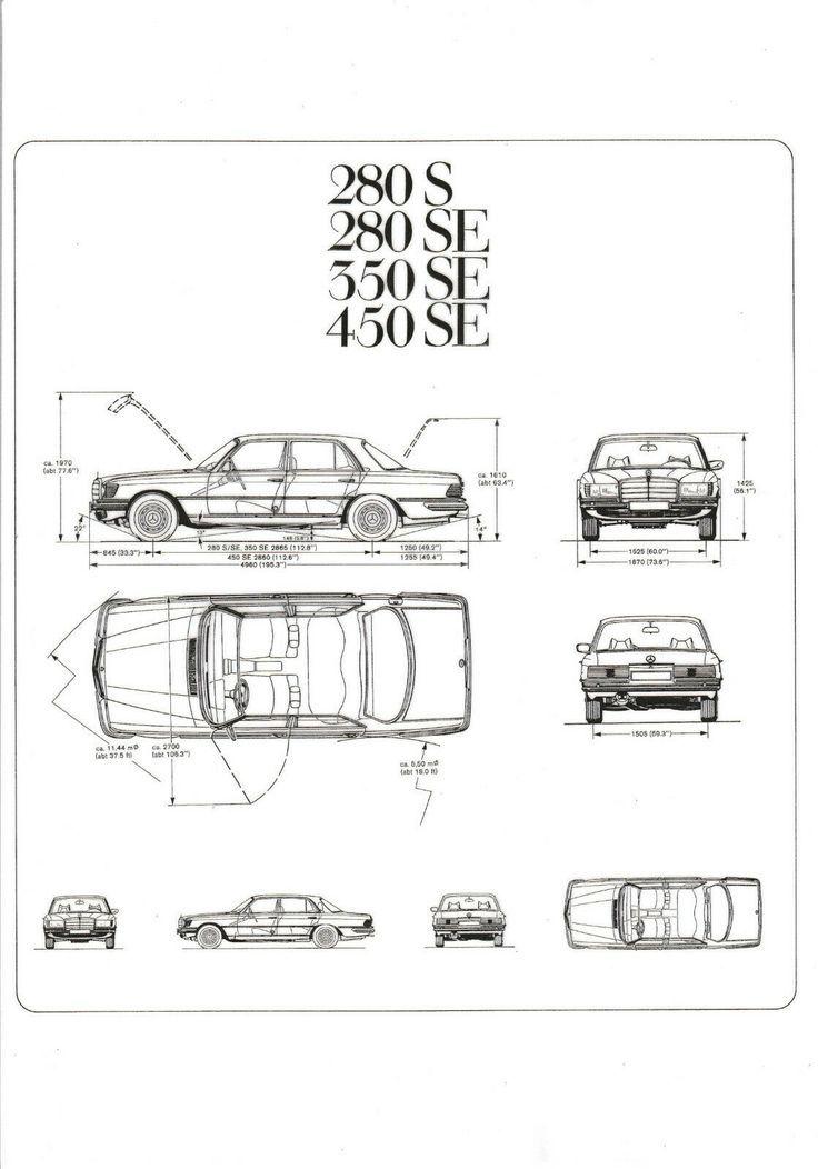 Details about Mercedes Benz W116 280S 280SE 350SE 450SE technische Zeichnung DIN…
