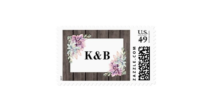 """Country chic wedding postage stamps featuring a rustic wood barn background, a succulent corner display and your initials or wedding date. Click on the """"Customize it"""" button for further personalization of this template. You will be able to modify all text, including the style, colors, and sizes. You will find matching items further down the page, if however you can't find what you looking for please contact me."""