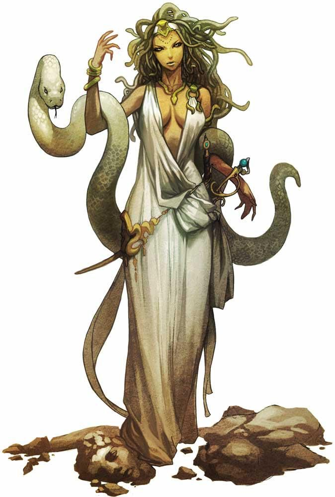 Medusa, artist unknown  Greek Gods Tarot deck— Medusa. In at least one of the cards, she will have a huge snake like this one. Less clothes, longer snake hair perhaps.