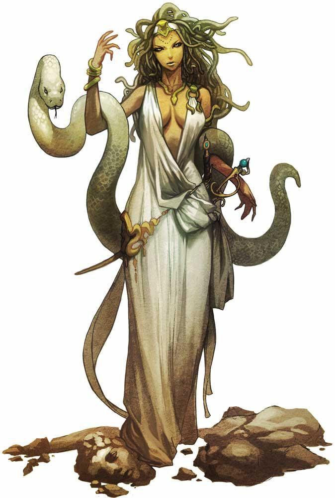Medusa era un mounstruo femenino que convertia en piedra a todo aquel que la mirara a los ojos , fue decapitada por Perseo.
