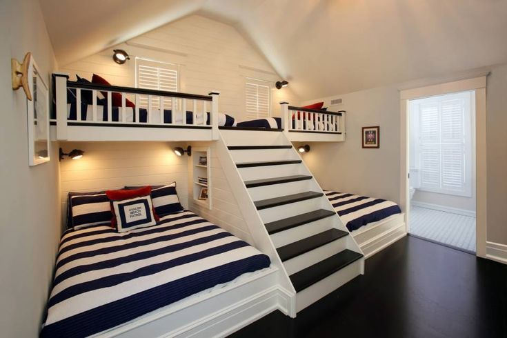 BEST small space, multi-use bunk room! I love this. Asher Associates Architects, Avalon NJ. I wonder: could you put drawers in those stair risers?