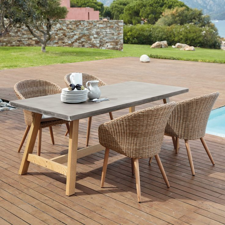 Fabulous Gartentisch aus Beton Imitat f r Personen Aquitaine Maisons du Monde