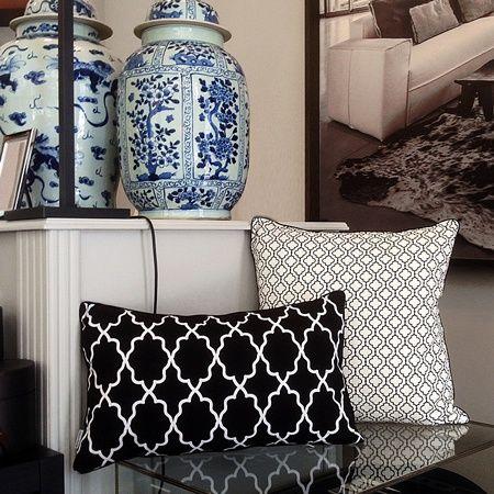 MIALIVING Moroccan Pillows, Interior: Casa Mia Warsaw #moroccan #quatrefoil #pattern #pillows #blue #ralphlaurenhome #vases #mialiving