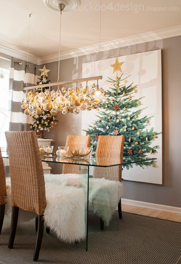Love the ornaments hanging over the table! This would be cool to make with some white icicle lights!!
