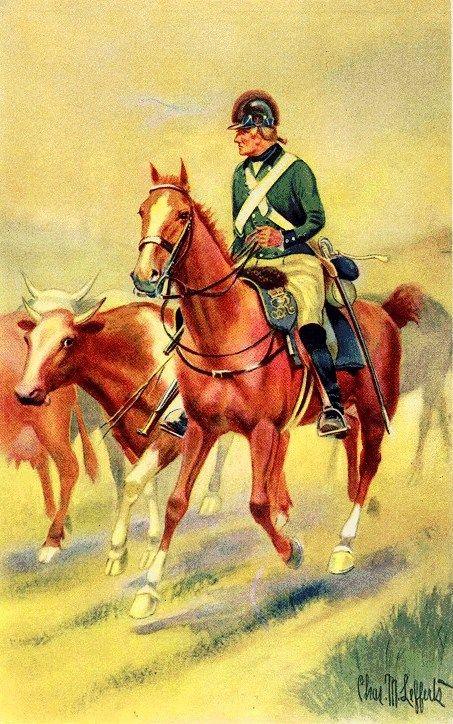 """Cavaliere americano lealista del contingente """"De Lancey's Refugees"""" detti anche i """"Cowboys,"""""""