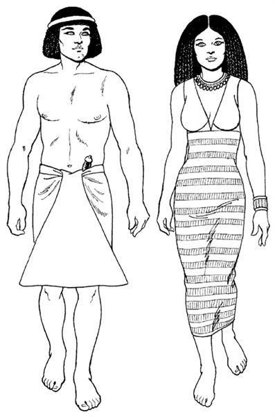 Рисунки древнеегипетских костюмов