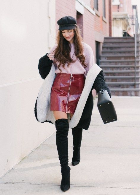 Red Patent Skirt + Pink Knit