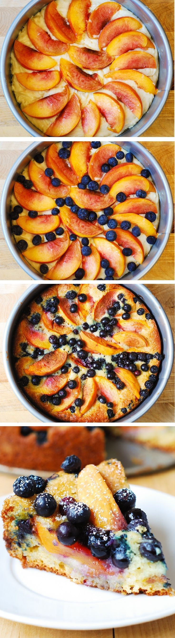 Delicious, light and fluffy Peach Blueberry Greek Yogurt Cake made in a springform baking pan. Greek yogurt gives cake a richer texture! JuliasAlbum.com #berries #cake #breakfast