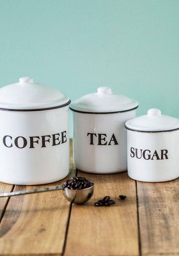 Morning Essentials Container Set. Though you drink different morning beverages, you and your roomie each have sweet storage with this vintage-inspired container trio! #white #wedding #modcloth
