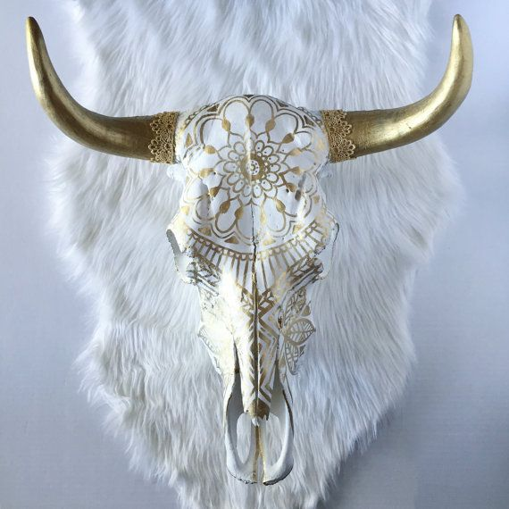 Gold Mandala Magnolia Steer Skull cow skull by SavannahAshleyArt