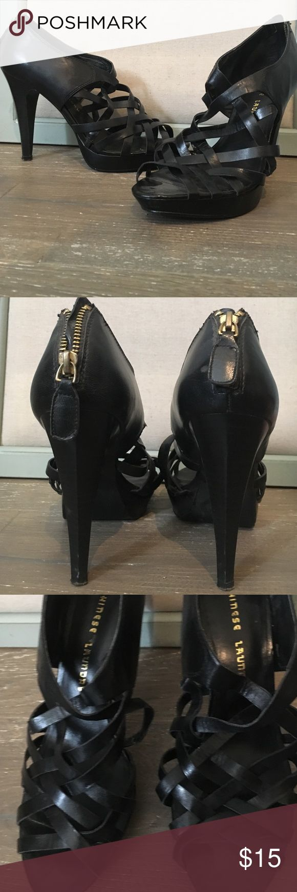Black heel with straps on the front Black heels with straps from the middle of the foot to the toes Chinese Laundry Shoes Heels
