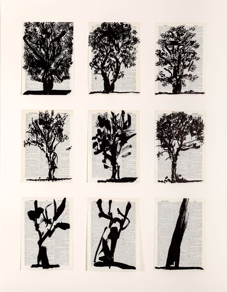 William Kentridge, Nine Trees, 2012 (Linocut printed on pages from Shorter Oxford English Dictionary)