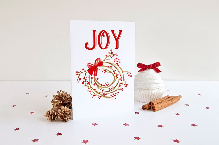 "JOY Christmas Card Set - Watercolor Greeting Card - Happy Holidays ""Berry Wreath"" Holiday Greeting Card - Season's Greetings Merry Christmas by PaintTheDayDesigns on Etsy"