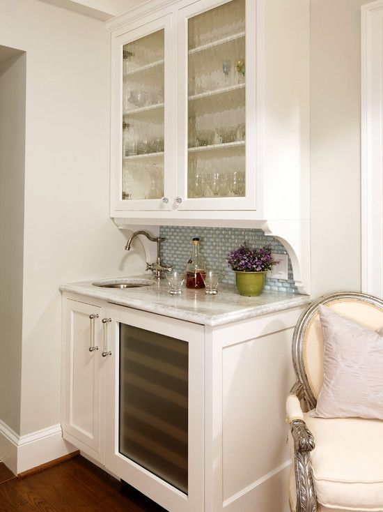 Harry Braswell Inc: Well Organized Wet Bar With Creamy White Cabinetry And  Turquoise Blue Tiled