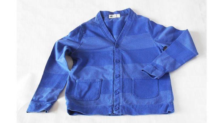 H&M kék csíkos pamut kardigán