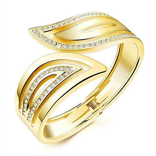 CLY STYLE K18金 ファッション ジュエリー 天使の羽 翼 フェザー ウイング レディース バングル 腕輪 ブレスレット バネ式 メタル シルバー ゴールド