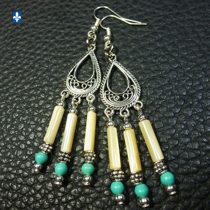 ♥ Elegant Howlite Turquoise & Natural Shell - Silver Plated Earrings