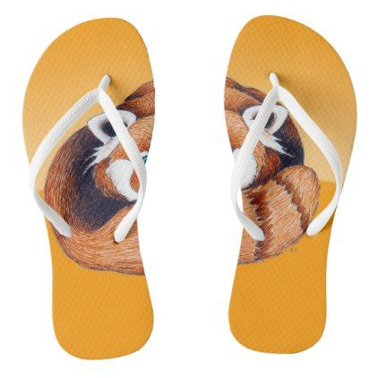 #Red panda on orange flip flops - #womens #shoes #womensshoes #custom #cool