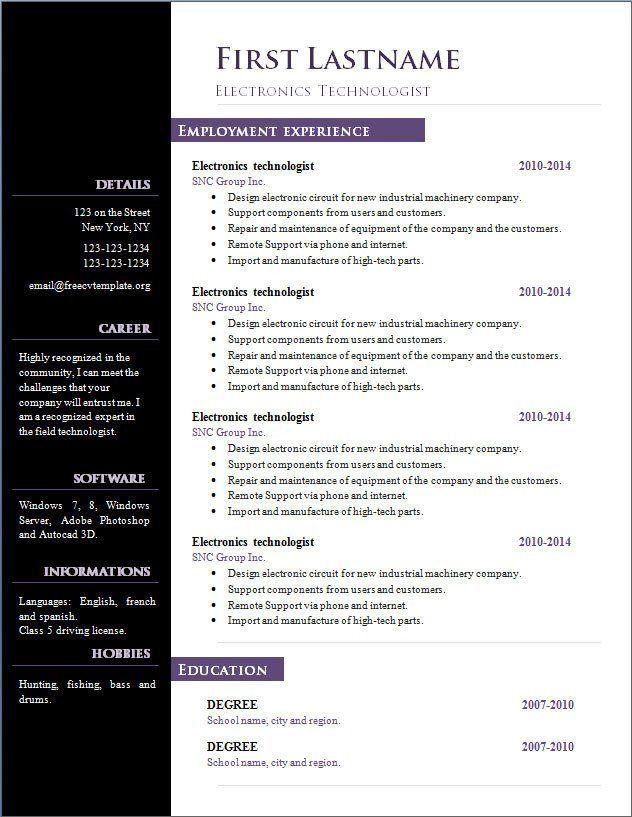 resume templates openoffice