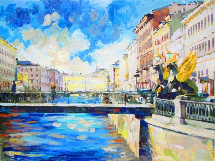 """Купить """"Банковский мост' - бирюзовый, Живопись, живопись маслом, картина, картина в подарок, картина маслом"""